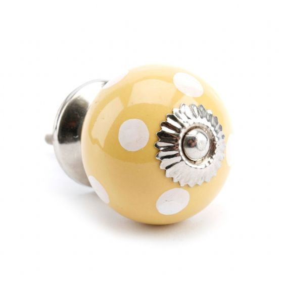 Yellow Polkda Dot Drawer Handle / Pull